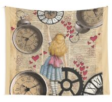 Alice In Wonderland Travelling in Time Wall Tapestry