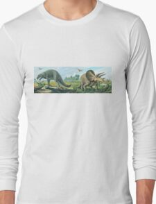 Tyrannosaurus Rex & Triceratops Frieze Long Sleeve T-Shirt