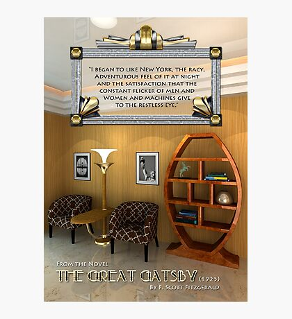 Art Deco Room Vintage Furniture Great Gatsby Quote Photographic Print