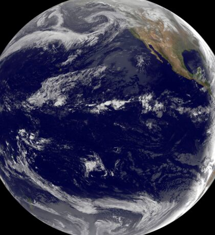 Satellite image of Earth centered over the Pacific Ocean. Sticker