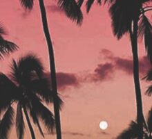 Orange & red sun rise with palm trees Sticker