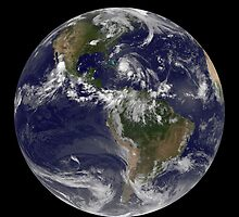 August 24, 2011 - Satellite view of the Full Earth with Hurricane Irene visible over the Bahamas. by StocktrekImages