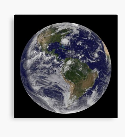 Full Earth with Hurricane Irene visible on the United States East Coast. Canvas Print