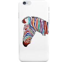 Colorful zebra rainbow smiling profile iPhone Case/Skin
