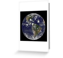 Full Earth showing tropical storms in the Atlantic Ocean. Greeting Card