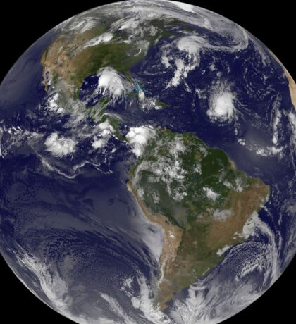 Full Earth showing tropical storms in the Atlantic Ocean. Sticker