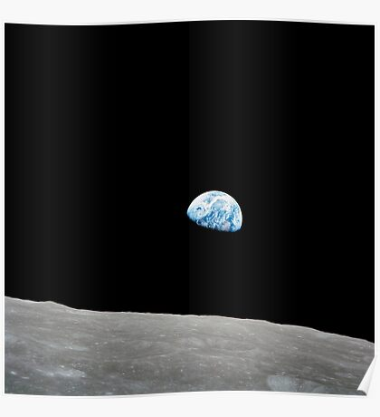 Earth rising above the lunar horizon. Poster