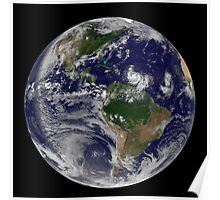 Full Earth showing two tropical storms forming in the Atlantic Ocean. Poster