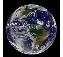 Full Earth showing two tropical storms forming in the Atlantic Ocean. Photographic Print