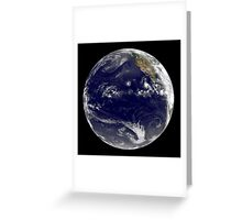View of Earth showing three tropical cyclones in the Pacific Ocean. Greeting Card