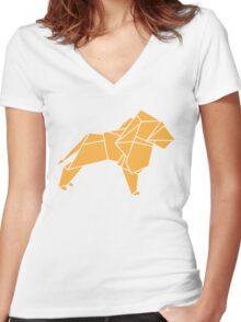 Origami Lion Women's Fitted V-Neck T-Shirt