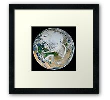 A synthesized view of Earth showing the Arctic, Europe and Asia. Framed Print