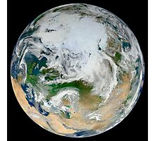 A synthesized view of Earth showing the Arctic, Europe and Asia. Photographic Print