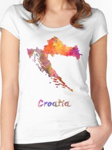Croatia in watercolor Women's Fitted Scoop T-Shirt