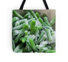 close up of Frozen Beans with ice crystals  Tote Bag