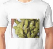A serving of Edamame (soybeans in the pod) with Coarse salt  Unisex T-Shirt