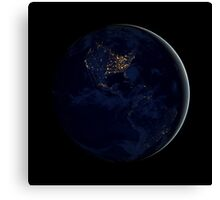 Full Earth at night showing city lights of the Americas. Canvas Print