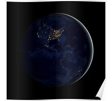 Full Earth at night showing city lights of the Americas. Poster