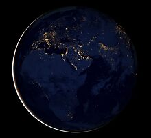 Full Earth showing city lights of Africa, Europe, and the Middle East. by StocktrekImages