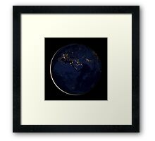 Full Earth showing city lights of Africa, Europe, and the Middle East. Framed Print
