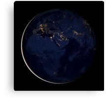 Full Earth showing city lights of Africa, Europe, and the Middle East. Canvas Print