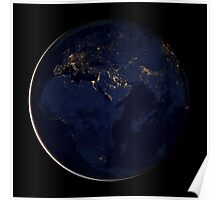 Full Earth showing city lights of Africa, Europe, and the Middle East. Poster