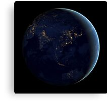 Full Earth at night showing city lights of Asia and Australia. Canvas Print