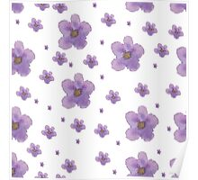 Flowers violet watercolor pattern  Poster