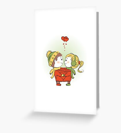 Loving couple together in a single jacket Greeting Card