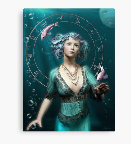 Pisces Zodiac Fantasy Circle Canvas Print