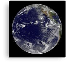 Full Earth showing various tropical storms. Canvas Print