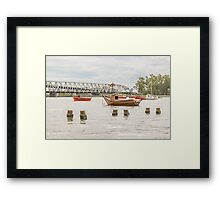 Boats at Santa Lucia River in Montevideo Uruguay Framed Print