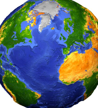 Full view of the Earth showing topographic data. Sticker