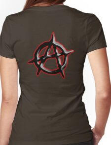 ANARCHY, ANARCHIST, Politics, Revolution, Protest, Disorder, Unrest, Symbol on red in black Womens Fitted T-Shirt