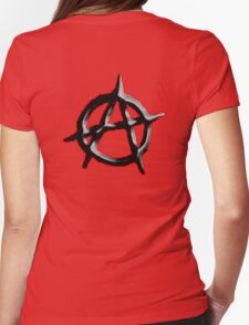 ANARCHY, ANARCHIST, Revolution, Protest, Disorder, Unrest, Symbol on red in black Womens Fitted T-Shirt