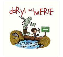 Daryl and Merle Dixon Calvin and Hobbes mash up Art Print