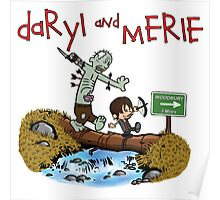 Daryl and Merle Dixon Calvin and Hobbes mash up Poster
