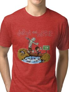 Daryl and Merle Dixon Calvin and Hobbes mash up Tri-blend T-Shirt