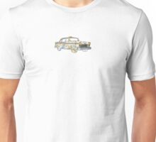 New York city old school checkered cab with subway map, NYC, east river, Brooklyn Unisex T-Shirt