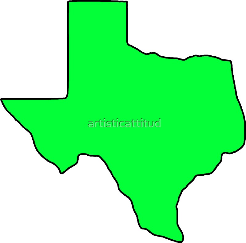 Quot Texas Neon Green Shape Outline Quot Stickers By