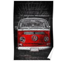 Red combi Volkswagen Half Tone Poster