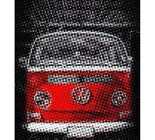 Red combi Volkswagen Half Tone by benbdprod