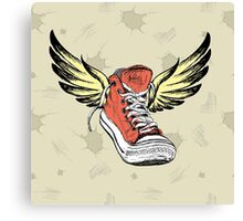 Vintage Sneakers with wings Canvas Print