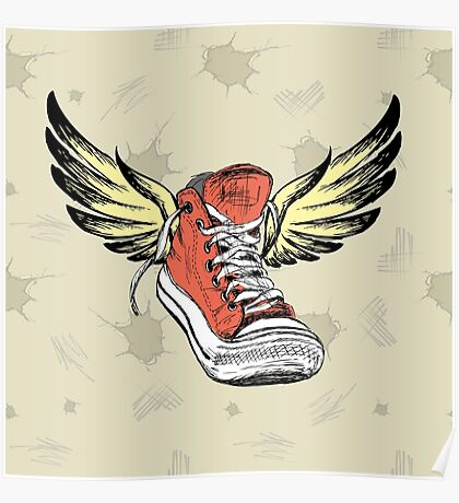 Vintage Sneakers with wings Poster