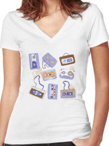 Audio cassette Women's Fitted V-Neck T-Shirt
