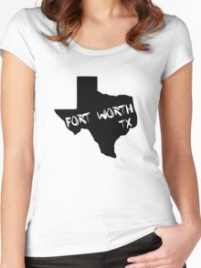 Fort Worth Texas paint state shape Women's Fitted Scoop T-Shirt