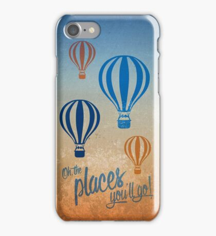 Oh, the Places You'll Go - Blue & Gold iPhone Case/Skin