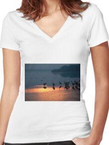 Common crane (Grus grus) Silhouetted at sun-set Women's Fitted V-Neck T-Shirt