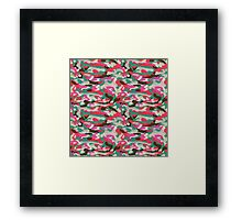 Red, green and pink Camouflage  Framed Print