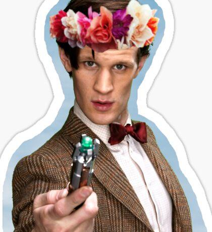 Eleventh Doctor with Flower Crown Sticker